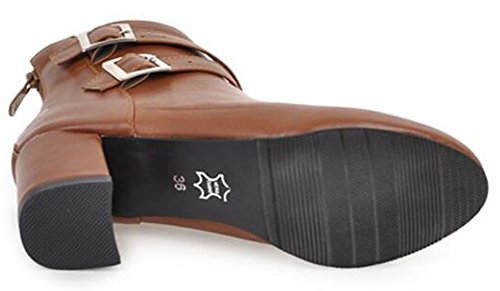 Side Aisun Ankle Brown Block Medium Strap Women's Heel Round Zipper Stylish Boots Toe Buckled Cross xBvx67