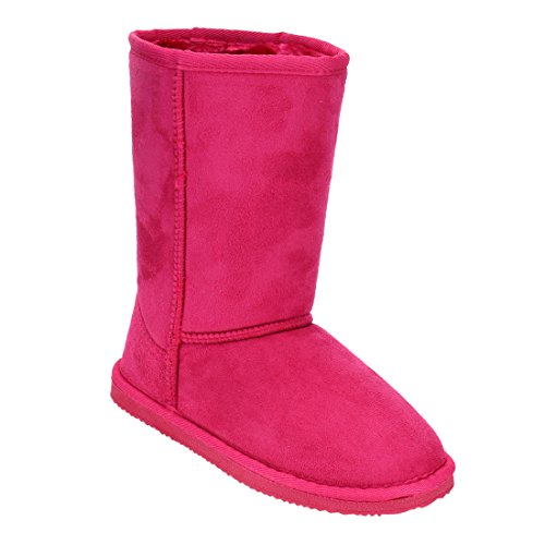Girls Pink Boots (LINK GE49 Girl's Mid Calf Pull-On Style Winter Snow Boots, Color:FUCHSIA, Size:11 M US Little Kid)