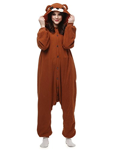 Belle House Brown Bear Pajamas Animal Costume Onesie Adults Sleepsuit Kigurumi Cosplay (Bella Onesie)