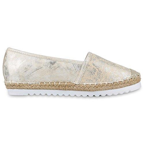 Japado Komfortable Damen Espadrilles Bequeme Slipper Funkelnde Glitzerapplikationen Modische Sommer Schuhe Gr. 36-41 Gold