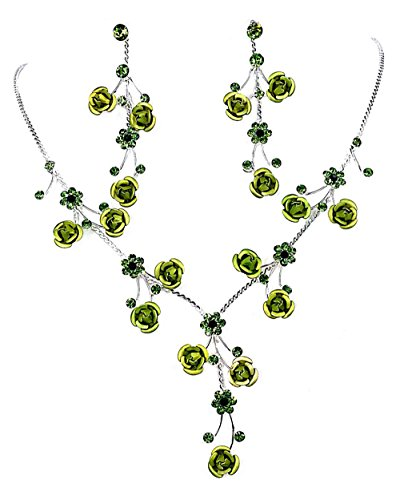 Faceted Metal Rose & Crystal Rhinestone Necklace & Earring set for Bridal, prom (Green)