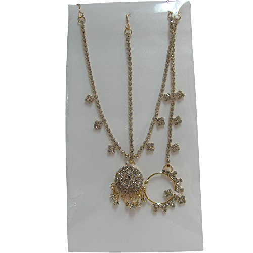 [Indian Gold-Toned Belly Dance Costume Accessory Head and Nose Chain with Dangling Rhinestones] (Ethnic Dance Costume)