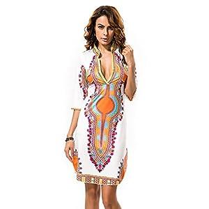 DH APPLE Women Bohemian V Neck Vintage Printed Ethnic Style Summer Shift Dress ¡ (XXL)
