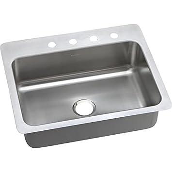 Elkay Dsesr127222 Dayton Elite 20 Gauge Stainless Steel Single Bowl Dual Universal Mount Kitchen Sink