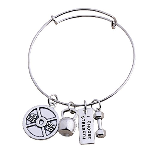 Charm Silver Barbell (Stainless Steel Fitness Weightlifting Gym Dumbbell Weight Plate Barbell Charm Bangle Bracelet I Choose Strength)