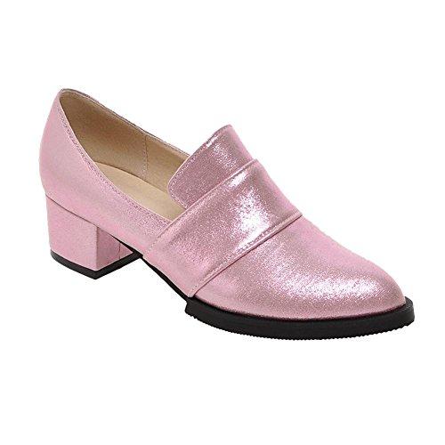 MissSaSa Damen Chunky heel Pointed Toe Plateau Pumps bequem und simpel Blockabsatz glitzer PU Pumps Pink