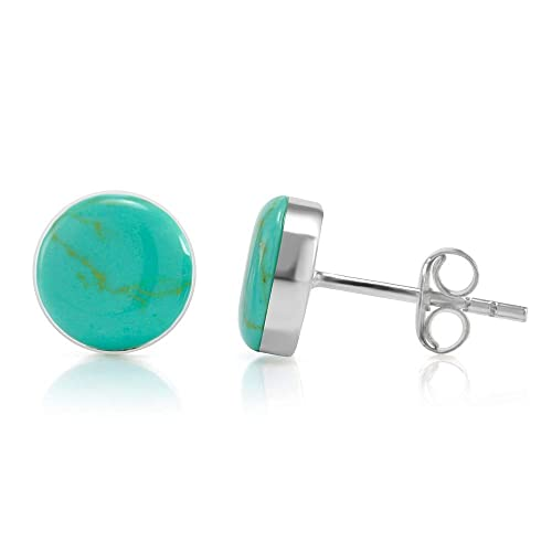 52af9ed7d Amazon.com: 925 Sterling Silver Tiny Blue Turquoise Gemstone Circle Post Stud  Earrings: Jewelry