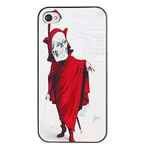 TY-Cráneo asustadizo en caso del modelo de la PC dura traje rojo con Negro Marco para el iPhone 4/4S