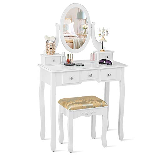 CHARMAID Vanity Table Set with Rotatable Oval Mirror, Bedroom Makeup Table with 5 Drawers for Women Girls, Dressing Table with Cushioned Stool (White)