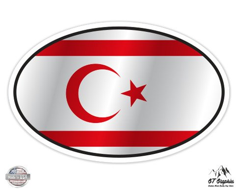 Turkish Republic of the Northern Cyprus Flag Oval - 3