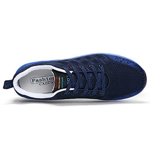 H-Mastery Zapatos de Running Adecuado para en Aire Libre y Deportes Malla Transpirable de Aire zapatillas de Deporte Hombre Azul