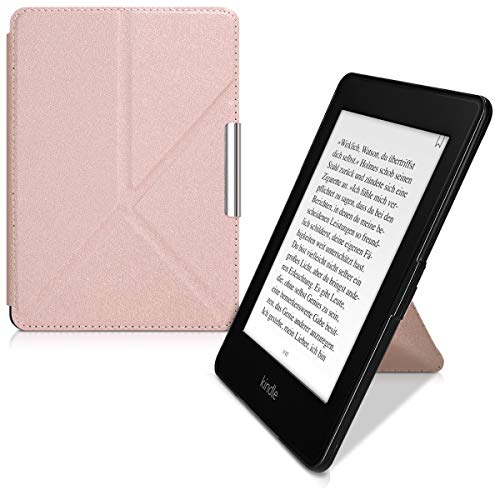 kwmobile Origami Case for Amazon Kindle Paperwhite - Ultra Slim Fit Premium PU Leather Cover with Stand - (for 2017 and Older) Rose Gold