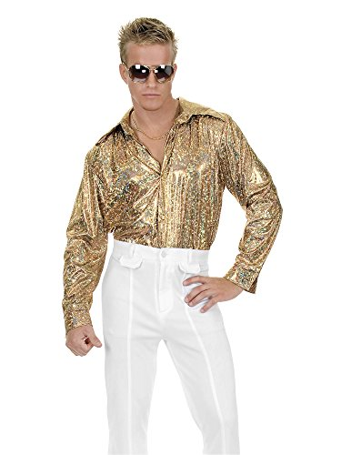 Charades Men's Plus Size Glitter Disco Shirt, Gold, 1X -