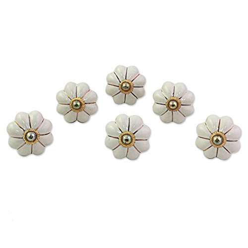 (NOVICA White Ceramic Metal Floral Decorative Cabinet Knobs 'Pale Floral Beauties' (set of 6, Screws Included))