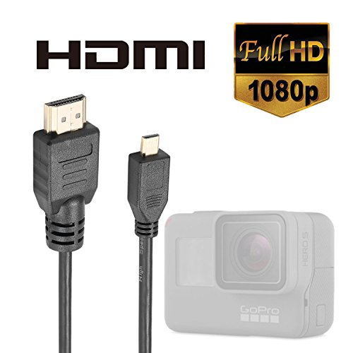 Luxebell High Speed HDMI HD Video Cable for Gopro Hero 7 6 5 4 Fusion Black Silver 3+ 3 and Sjcam Sj4000 Sj5000-5feet/1.5m (Pack-1)