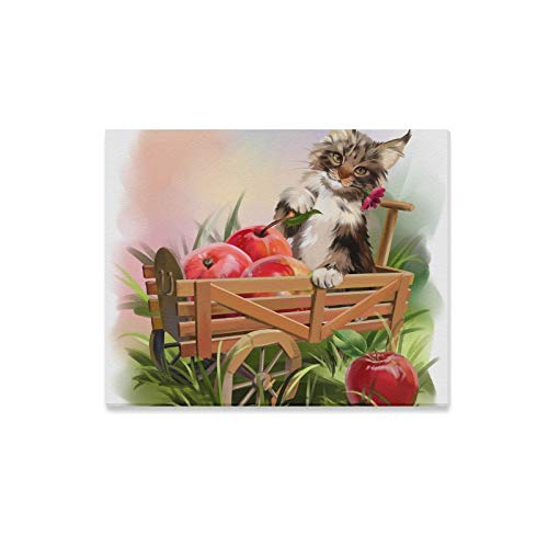 ENEVOTX Wall Art Painting The Cat and The Apple Harvest Prints On Canvas The Picture Landscape Pictures Oil for Home Modern Decoration Print Decor for Living Room