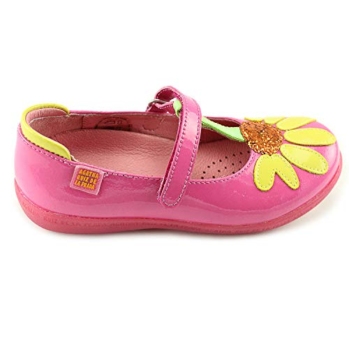 Agatha Ruiz De La Prada Girls Pink Mary Janes Leather Shoes with Arch and Ankle Support (142938 A-Fuscia)