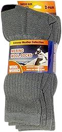 Best Price 2 Pair Mens Merino Wool Blend Thermal Socks Hiking Outdoor Sport Grey Sock Size 10 13