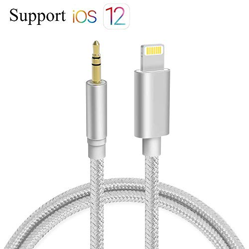 Aux Cable for Car, Bebetter Aux Cord Compatible with iPhone 6/7/8/X/Xs/Xr/iPad/iPod 3.3ft 3.5mm Male Audio Adapter for Car Home Stereo &Headphone [Nylon Braided] - Silver (Connect Iphone To Car Stereo With Aux)