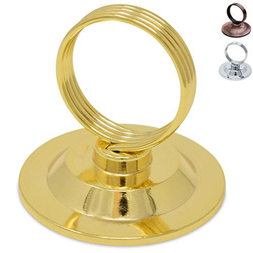 Christmas Five Golden Rings Bell - GrayBunny GB-6792G Place Card Holder, 12 pack, Gold, Table Card Holder Table Menu Holder Harp-Clip Table Number Holder Recipe Holder Reserved Card Holder, For Restaurants, Weddings, Banquets