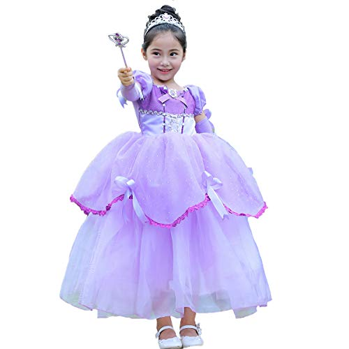 Girls' Princess Sofia Dress up Costume Cosplay Fancy Party Dress Sofia The First Transforming Dress New Rapunzel Party Dress Halloween Christmas Carnival Costume for Kids Photo Shoot Purple 2-3Y