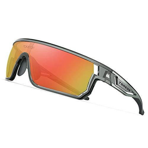 TOREGE Polarized Sports Sunglasses for Man Women Cycling Running Fishing Golf TR90 Fashion Frame TR16 Warrier (Transparent Gray&Blakc&Red Lens) (Sunglass Hals Gurt)