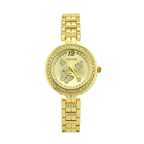 XBKPLO Women Quartz Watches Analog Wrist Watch Luxurious Crystal Butterfly Temperament Ladies Fine Gold Case Steel Band Bracelet Jewelry Gift