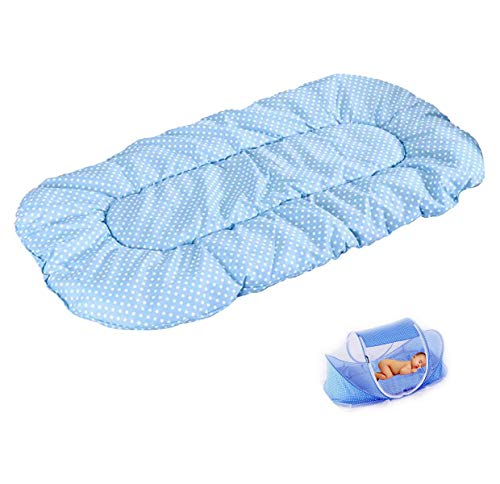 CHRISLZ Summer Mosquito Net for Children,Portable Folding Baby Travel Bed Crib Baby Cots Newborn Foldable Crib (Blue-MAT)