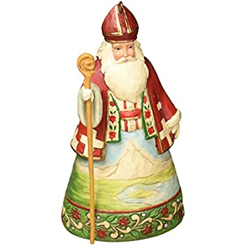 Jim Shore Heartwood Creek Swiss Santa Stone Resin Hanging Ornament, 4.5