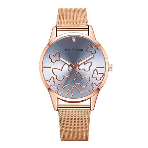 IslandseFashion Butterfly Flying Dance Dial Without Scale Ladies Mesh with Quartz Watch (Sky Blue)