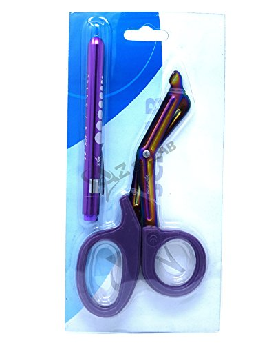Heavy Duty Reusable Penlight + Nurse Doctor Medical Paramedic Trauma Utility Tactical Shears Scissors 7.25