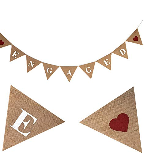 ENGAGED Burlap Banner-Engagement Decoration Wedding Burlap-Rustic Wedding Garland-Custom Spring Wedding Banner-Ornate -