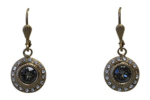 Catherine Popesco La Vie Parisienne Petite Round Earrings Grey & Clear Swarovski Crystals ()