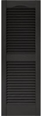 Builders Edge 15 in. x 43 in. Louvered Vinyl Exterior Shutters Pair in #002 Black-010140043002 - The Home Depot