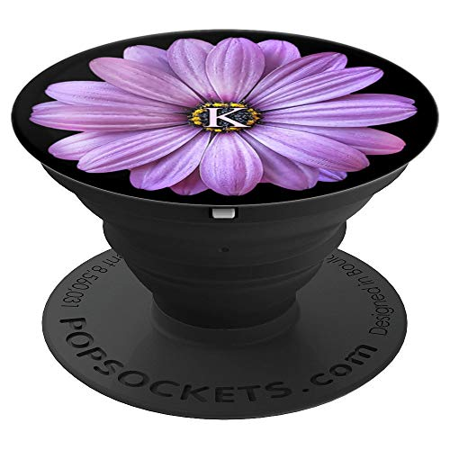(Initial K Letter Daisy Purple Floral Design Flower - Daisy - PopSockets Grip and Stand for Phones and Tablets)