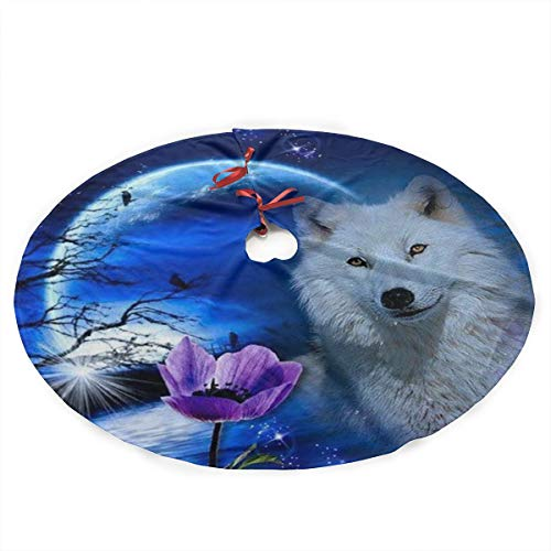 Yilad Wolf Moon Fantasy Christmas Tree Skirt Xmas Holiday Decoration