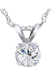 5/8ct Round Diamond Solitaire Pendant 14K White Gold
