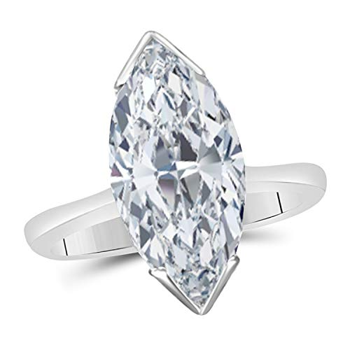 14k Gold Over Sterling Silver Marquise Shape Cubic Zirconia Solitaire Engagement Ring