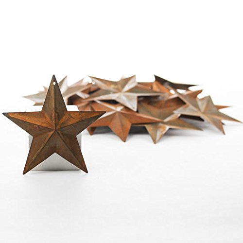(Factory Direct Craft Package of 50 Rusted Tin Dimensional Miniature Barn Stars with Hole and Hollow Backs)
