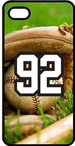 Baseball Sports Fan Player Number 92 Black Plastic Decorative iPhone 4/4s Case