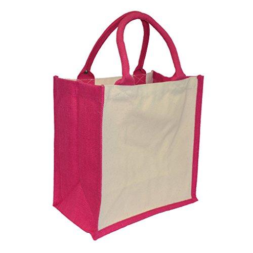 Evolution of a Xenomorph in schwarz Druck auf Jute Midi Einkaufstasche mit Pink Griffe und Trim