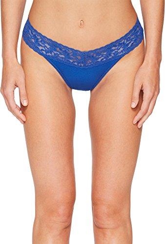 Hanky Panky Organic Cotton Original Rise Thong, One Size, (Blue Womens Underwear)