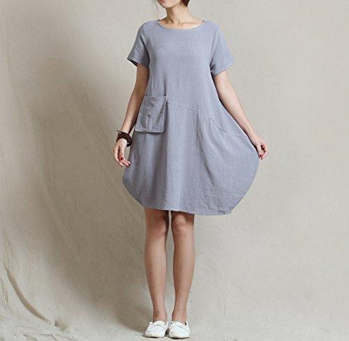 Clothing Light Spring Y18 Gray Soft Plus Anysize Lantern Summer Dress Size Loose Linen amp;Cotton q7awvnda