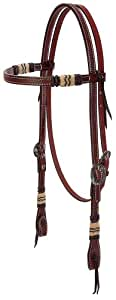 Weaver Leather Basketweave Bridle Leather Browband Headstall with Rawhide Accents, Chestnut