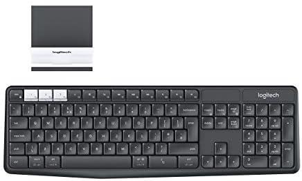 Logitech K375s Multi-Device Teclado Inalámbrico y Soporte para Windows, Apple, Android, Chrome, Disposición QWERTY US Internacional, Negro