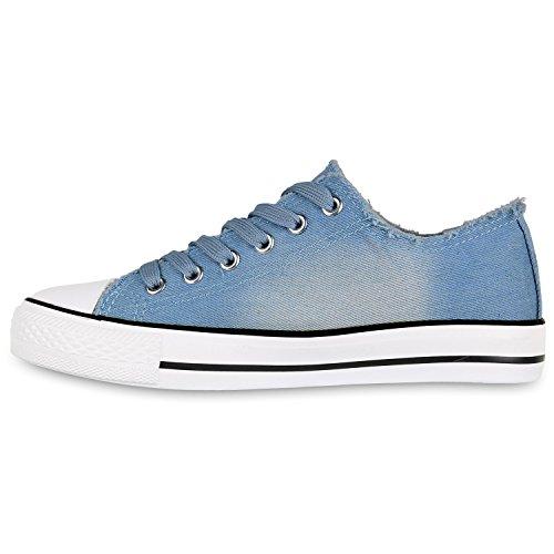 Stiefelparadies Damen Sneakers Spitze Denim Sportschuhe Strass Stoffschuhe Blumen Prints Textil Schuhe Sneaker Low Flandell Blau Jeans