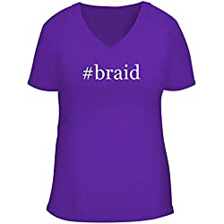 BH Cool Designs #Braid - Cute Women's V Neck Graphic Tee, Purple, Medium