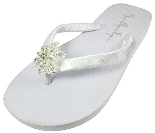 White Satin Flops Bridal Bride Vintage Flat Wedding Rhinestone Flops White Flip Flip Flower Jewel ggz6C4