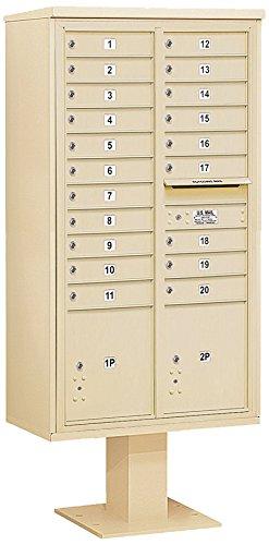 Salsbury Industries 3416D-20SAN 4C Pedestal Mailbox, Sandstone