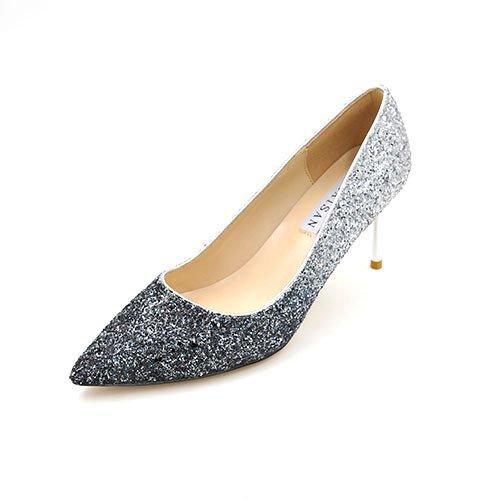 de shoes madre tacones cm Oro plata plata 7 tacones boquilla altos con 40 con de punta de Luz wedding hembra 7cm y Fino la negro degradado la degradado Bien con de RBAAXZ